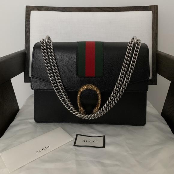 Gucci Dionysus Black Leather Bag Large